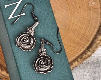 Antique Silver Rose Earrings | Simple Earrings | Fairytale Inspired Jewelry | Dangle and Drop Style