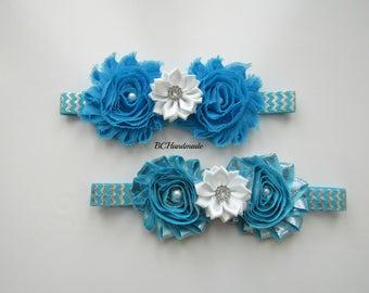 Turquoise silver flower headband, Elsa flower headband, princess headband, first birthday headband, princess Elsa headband, baby headband