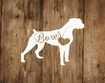 Boxer Dog Love Decal, Boxer Heart Decal, Dog Decal, Pet Decal, Yeti Decal, Car Decal, Laptop Decal, Dog Decal, Boxer Dog Decal
