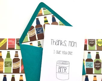 Mother's Day Card, Funny Mother's Day Card, Thank You Card,  Beer Thank You Card, Thank You Card for Mom, Beer Thank You Card