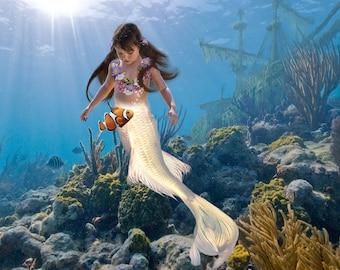 Underwater scene with Mermaid. Your child in a magical scene. Custom item using photoshop. Composite image. Create a fun unique image.