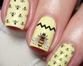 Bee nail art etsy bee nail art sticker water transfer decal wrap 3d 123 prinsesfo Choice Image