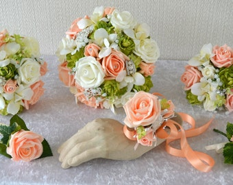 Bridal bouquet set,peach,ivory, 2 bridesmaids,2 corsage/buttonholes