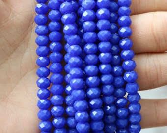 4x6mm Full Strand Glossy Blue Glass Beads Rondelle Jewelry Beads Sparkling Glass Lead Free AB045B