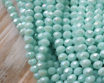 Crystal Beads, Glass Beads, Blue Beads, Aqua Beads, Sparkly Beads, Rondelle Beads, AB Finish, 8mm Beads, 6MM Beads, AB063F