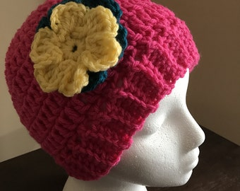 Pink Messy Bun Beanie, Hat, Toque, Crocheted Beanie with Flowers, Woman's Ponytail Toque, Girl's Hat with Flowers, Hat with Elastic Hole