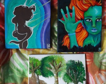 Original oil paintings - Disney's Ariel, Mermaid and Tree landscape paintings (Only one available of each)