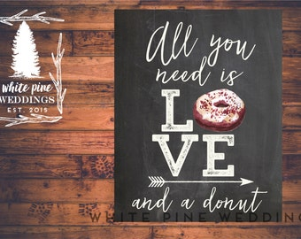 PRINTABLE Wedding Dessert sign, Wedding Donut Sign, All you need is love and a donut sign, Donut bar, Dessert Bar, Red Velvet, Donuts