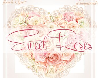 Sweet Roses - Watercolor Clipart Collection, Flowers arrangements, Romantic Wedding, Invitation, Valentines day, Wall art, Scrapbooking, PNG