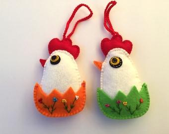 Easter Chicken Felt, Easter Ornaments, Felt Chicken, Set of 2 birds, Felt Birds, Felt Easter Eggs, Felt Easter Ornaments, Home Decor