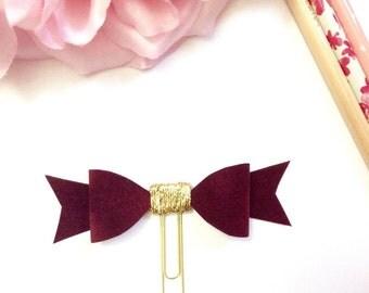 Planner Paper clips in Adorable Maroon Velvet and Gold Planner Accessories,Planner Paperclips collection
