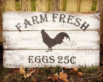 Rustic Farm Fresh Eggs Kitchen Wall Decor