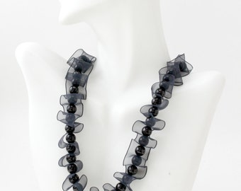 Black Pearl Ribbon Necklace, One Row Pearl Necklace, Elegant Black Necklace, Beaded Necklace
