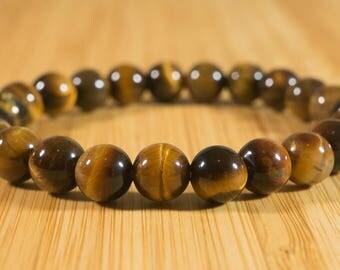 New Beautiful Genuine Tigers Eye 8mm Round Bead Stretch Bracelet Handmade Natural Healing Stone