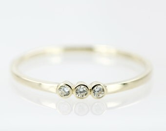 Yellow Gold Trio Bezel Dainty Ring, Three Stones Ring, Stackable Ring, Thin Ring, Promise Ring, Minimalist Ring, Solid 9k Gold