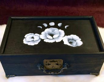 Moon Phase and White Poppy Jewelry Box