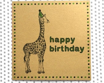 Giraffe Birthday Card, safari animal illustration with party hat, unique recycled greetings card ideal for son, sister, wildlife enthusiast