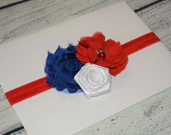 Patriotic Headband ,4th of July Baby Headband,July 4th Headband,Newborn Headband ,Red White Royal Blue Headband ,Baby Headband