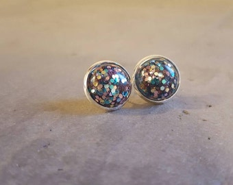 Teal rose gold confetti 12mm studs