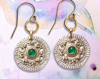 Natural Emerald earrings, Artisan earrings, Green Gold earrings, Greek style Fine silver & 9ct solid details Earrings.