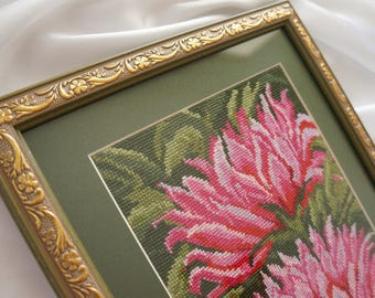 "Completed cross stitch handmade embroidery ""Lotuses"", framed"
