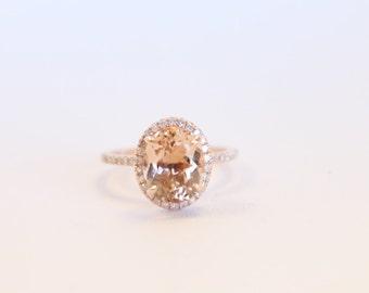 Halo Morganite Engagement Ring, Rose Gold Diamond Ring, Rose Gold Ring, Diamond Ring