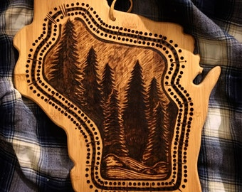 Woodburned Wisconsin Cribbage Board | made to order, custom, handmade, pine trees, bamboo, outdoors, cabin