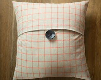 16x16 coral and light gray button tab throw pillow cover