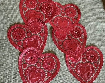 Die Cut Hearts/Red Foil/Ornate Hearts Embellishments/Scrapbook Decorations/Crafting Project/Lot of 5/Wedding Decor/Upcycle Project/Crafts