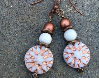 Boho Earrings, Hippie Earrings, Copper Earrings, Dangle Earrings, Dahlia Flower Earrings