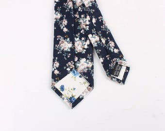 Navy and Cream Skinny Floral Tie    -  floral ties, Floral skinny ties, prom, wedding , gift, Vintage, retro, gifts for him, anniversary,