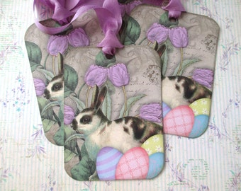Easter Tags-Bunny in the Tulips-Set of 6
