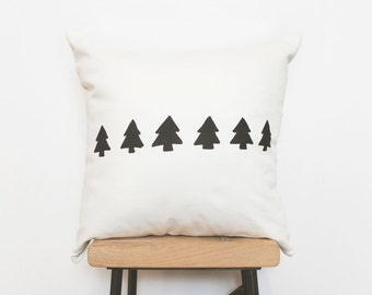 Modern Hygge decorative throw pillow cover with black tree design