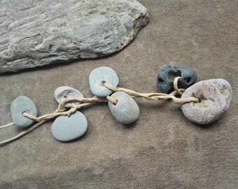 Small hag stone charms Small holey stones Naturally holed beach pebbles 7 pcs
