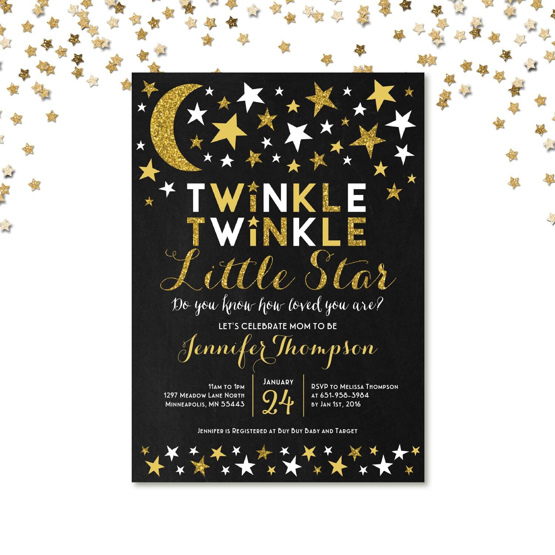 Twinkle Twinkle Little Star Baby Shower Invitation Gender Neutral