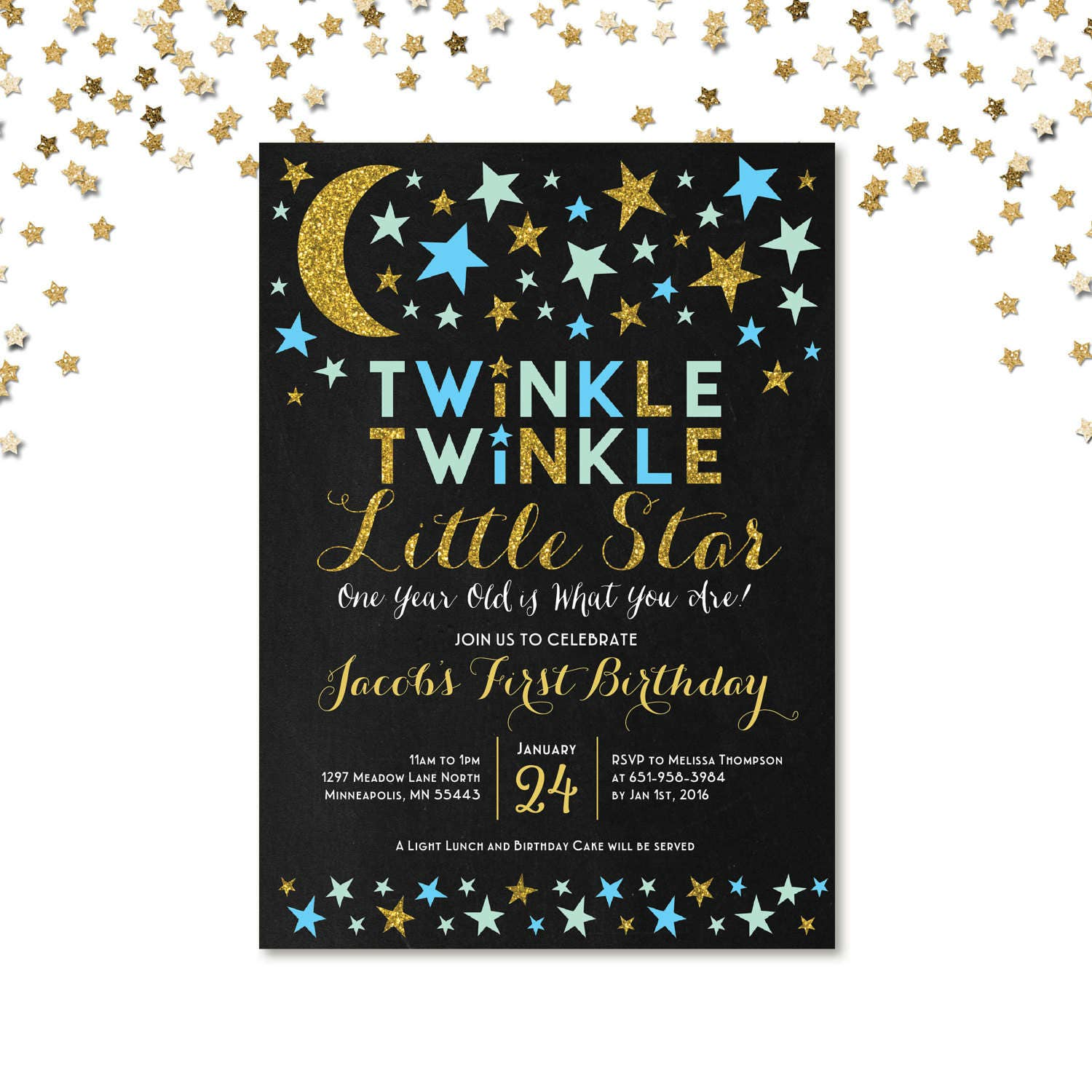 twinkle twinkle little star first birthday invitation blue and