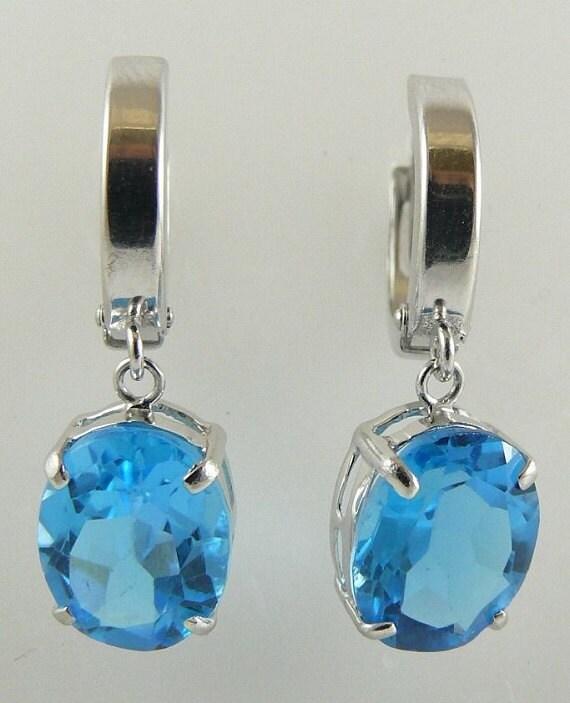 Blue Topaz 6.18ct Earring 14k White Gold Huggie Style