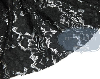 Black stretch lace fabric.