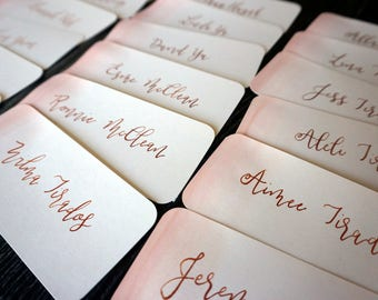 Watercolor Place Cards / Modern Calligraphy / Meal Choice Stickers