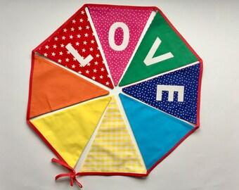 Rainbow bunting - 'LOVE'  Bunting - Nursery bunting - Children's bunting - Playroom bunting - Fabric banner - Pennant flags