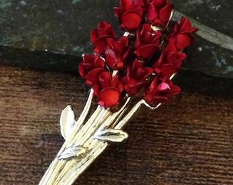 Red Roses brooch