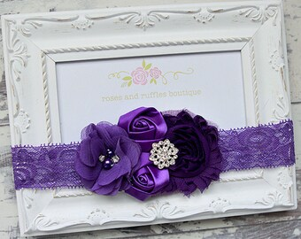 PICK COLOR, Purple Baby Headband, Baby Girl Headband, Newborn Headband, Flower Headband, Baby Photo Prop, Infant Headband, Toddler Headband