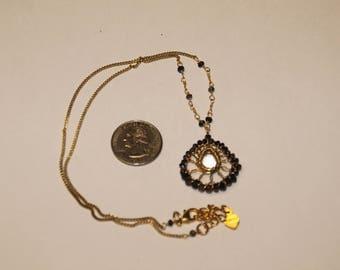 """Vintage gold-tone multi stone necklace 18"""" """"nakama""""baek"""