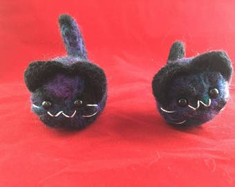 Galaxy  Mini Kitten Plushie Felted Cat Plush Keychain