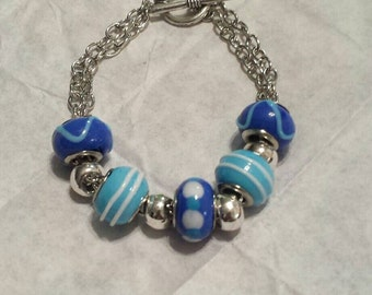 Chain bracelet, Silver double chain toggle bracelet, European glass beads, Bracelet, Blue and white glass beads.