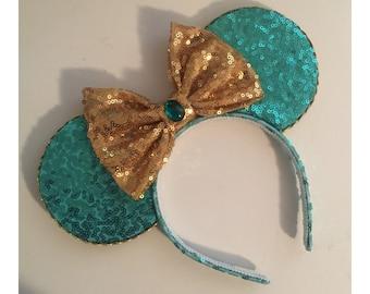 Princess Jasmine Minnie Ears, Jasmine ears, Blue Mickey Ears, Disney Princess, Aladdin ears,