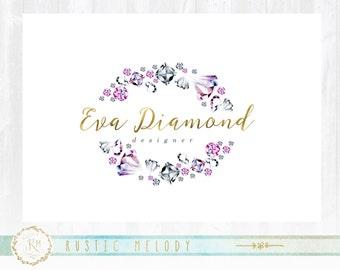 Diamond Logo, Watercolor Logo, Wedding Logo, Party Logo, Fashion Logo, Beauty Logo, Artisan Logo, Gold foil Logo