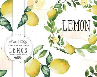 Lemon Watercolor Logo, Lemon Illustration, Hand Painted Lemon Logo, Logo design, Fruit logo, Watermark