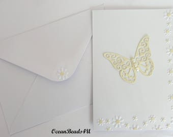 6 White Envelopes  and 6 Cards with yellow Butterfly