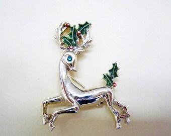 Vintage Gerrys Christmas Reindeer brooch, 1940s